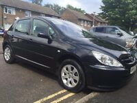 2004 PEUGEOT 307 S BLACK NEW MOT 12 MONTH