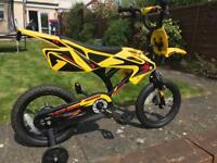 "Boys Bike with stabilisers Motorbike avigo 14"""