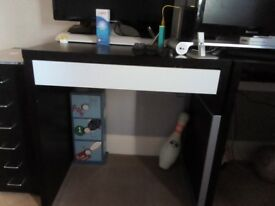 Ikea micke desk one corner desk and one school type desk in black with white drawers