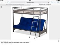 Bunk bed, top single bottom couch and double bed frame