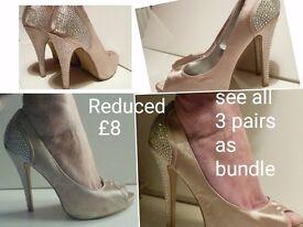 Milli Heels, metallic material nude colour sz 6