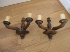 Pair Vintage Wood Wall lights In Pairs.Suit Cottage ect Weymouth