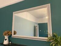Large wall hung mirror grey/white