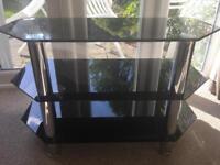 Three tier corner black glass tv stand