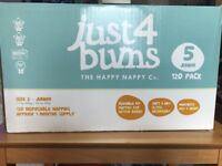 Just for Bumps Nappies, size 5 Junior, 120 pack