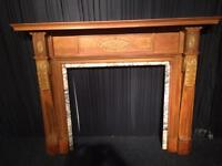 Antique Victorian Pine Fireplace with with slips Surrounding