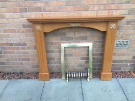 Wooden Fire Surround and brass ware £60e