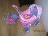 TODDLER CHILDs BARBIE PRAM with bag & doll carrier (hood & removable cover) + FREE DOLL
