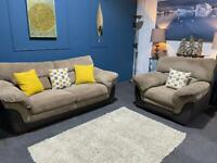 Cream/mink cord fabric suite 3 seater sofa bed and electric recliner armchair