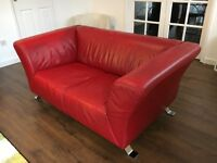 2 Modern Red DFS Leather Sofas For Sale - £50.00 for both