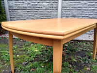 Beautiful 30yr Vintage Beech Veneer Ikea Kronvik extending dining table seats 6-10 PRISTINE