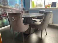 Round Marble Dining Table& 5 Chairs
