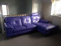 Dhs purple leather corner sofa