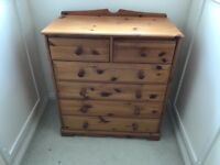 Chest of Draws (Solid Pine) 2 Over 4 - No Marks or Scratches