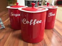 Set of 3 red jars