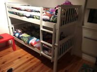 Kids white wooden bunk beds