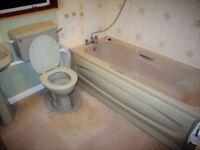 Lovely green bathroom suite: plastic bath with plastic panel, ceramic basin & pedestal, WC & cistern