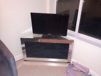 Glass Mirrored Corner Entertainment Storage TV Stand.