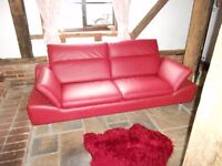 Almost New Deep Red Leather Settee