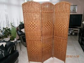 wickerwork screen with three decorative panels-useful for interior designer