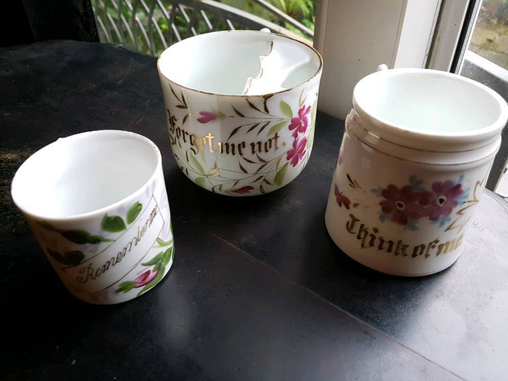 3 vintage sentiment cups one German