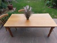 Custom made solid English oak table with five chairs