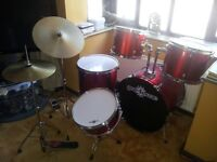 5pc drum kit (gear4music) with 2 cymbals
