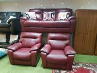 Red leather 3 seater sofa, electric armchair and armchair