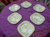 Set of six 6 Johnson Brothers Liberty Tiffany Co Chintz Porcelain Square Salad Plate Set