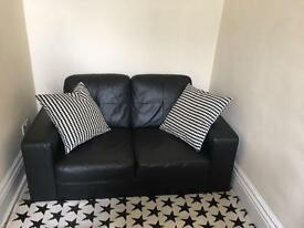 Nearly New Black Leather Sofa - excellent conditions