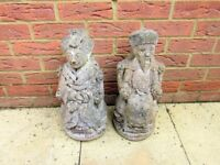 Pair of oriental Japanese style man & woman stone garden figures weathered condition 20 years old