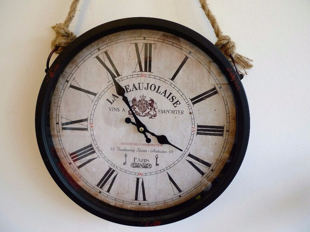 vintage style wall clock la beaujolaise from the range. Black Bedroom Furniture Sets. Home Design Ideas