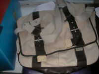 Useful white canvas bag with brown leather trim for work or leisure