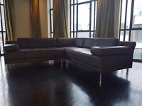 Dark brown leather corner sofa with detachable sections