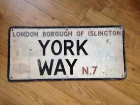Vintage London borough of Islington York Way N7 street sign