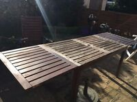 Large Wooden Ikea Applaro Garden Table with foldable ends