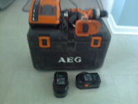 Drill, cordless, AEG, BSB 18g, Made in Germany, 18v Hammer/Screw driver drill, AEG, AL 1218 charger