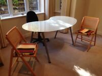 Glass top dining/study table kidney shaped tubular steel legs and chair