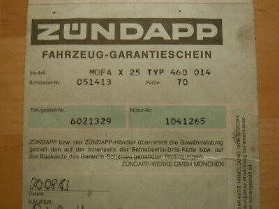 ZÜNDAPP Mofa X 25  Typ 460 Inspektionskarte 1983 GARANTIESCHEIN    Prospekt
