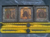 Antique Russian Triptych Traveling Icon in a Brass case