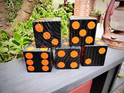 1 Jumbo/Giant Lawn Yard Wood DICE Harley Orange/Black 3.5