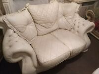 Two Two seater Italian leather suit cream