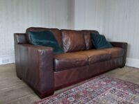 Deep Brown Genuine Leather Three Seater Sofa
