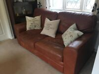 Brown Leather Sofa and Armchair Set