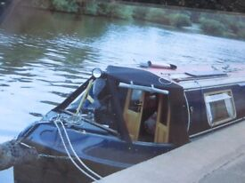 Narrowboat Cratch Cover in black canvas material NOT plastic.