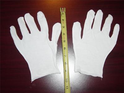 12 Pair White Lisle Cotton Inspection Gloves - Mens Xl - 100 Cotton New