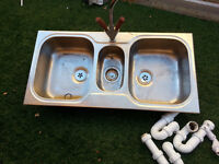 Used 2.5 stainless steel catering sink with mixer tap