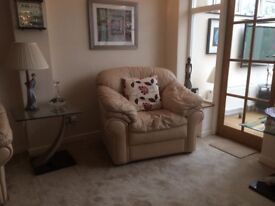 3 piece leather suite in champagne colour, 1 3 seater, 1, 2 seater 1, armchair in immaculate te