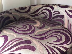 Beautiful & luxurious corner sofa, purple and silver, never used & like new, with built in speaker