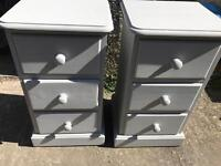 Grey Painted Solid Pine TWO Small Bedside Tables